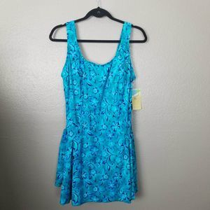 NWT Le Cove Teal One-Piece Skirt Bathing Suit 22W
